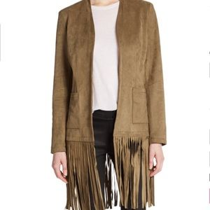 Saks Fifth Avenue BLUE Fringe Faux Suede Jacket